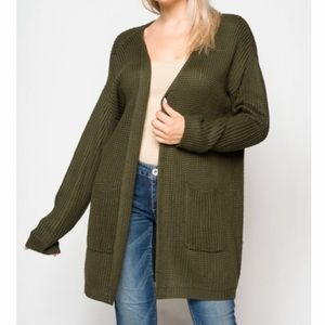 Sweaters - Oversized Olive Green Cardigan